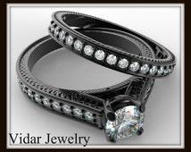 Black Gold Diamond Bridal Ring Set,Unique Engagement Ring Set,Black Gold Ring Set,Diamond Engagement Ring Set ,Vidar Jewelry,Unique Ring Set