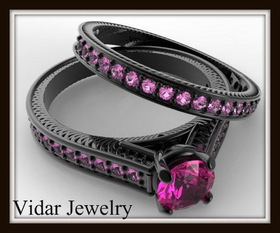 Pink Sapphire Wedding Ring SetBlack Gold Bridal Ring