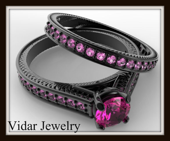 Pink Sapphire Wedding Ring SetBlack Gold Bridal Ring