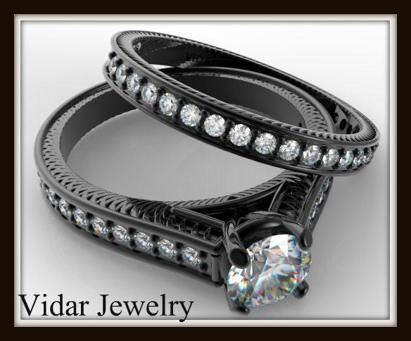 Black Gold Diamond Bridal Ring SetUnique Engagement Ring