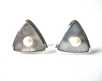 Vintage Sterling Silver Rounded Triangle Mother Of Pearl Cufflinks With Cultured Pearl