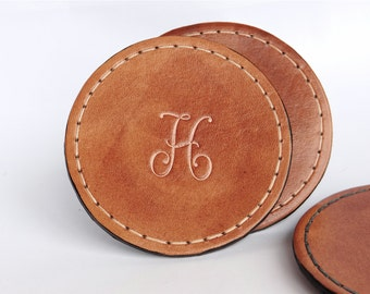 Set of 4 / Monogram Round Leather Coaster