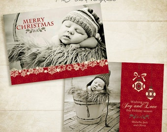 Christmas Card Template - 5x7 photo card template - for photographers and personal use- 008 - ID037, INSTANT DOWNLOAD