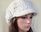 Newsboy Slouchy hat - Offwhite - womens teen girls - accessories - Wool Woolen - gift