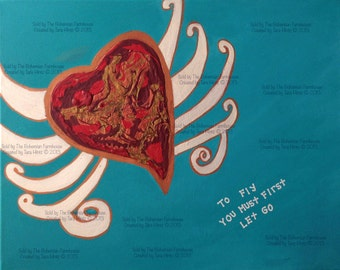"Original Acrylic On Canvas Flying Heart Painting Whimsical Art  ""Flying Lessons"""