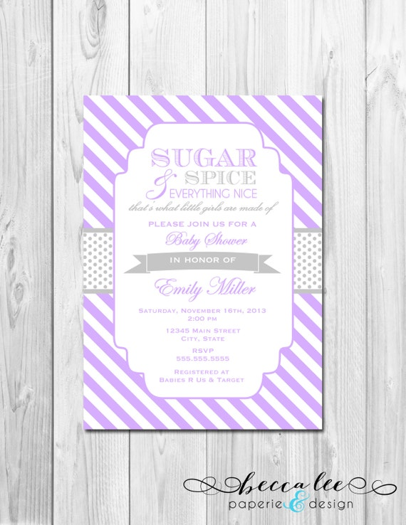 sugar and spice baby shower invitation stripes purple and grey