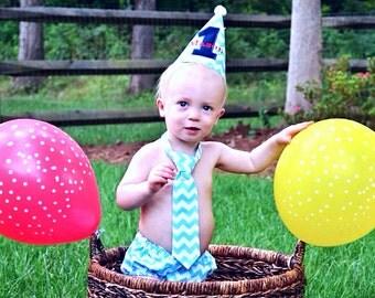 Chevron Baby Boy First Birthday Cake Smash Outfit