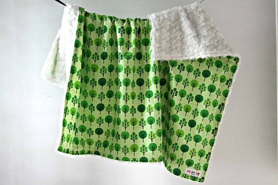 Large Baby/Toddler Blanket, Green Trees with White Minky Swirl, Ready to Ship