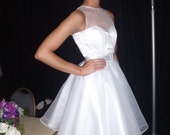 white wedding dress short wedding dress sample- sale satin wedding dress  50's style wedding dress