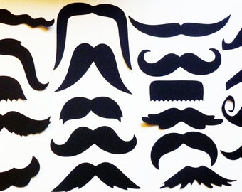100 Mustache - Moustache - Cut Outs - Die Cuts - Photo Props - Party Decorations - Garlands - Party Straws - Photo Booths Made to Order