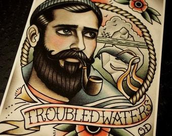 Troubled Waters Tattoo Art Print