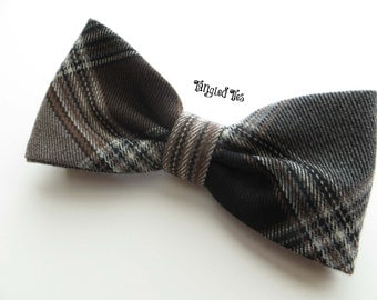 BOW TIE, Brown and Grey Bow Tie, Plaid Bow Tie, Men's Bow Tie