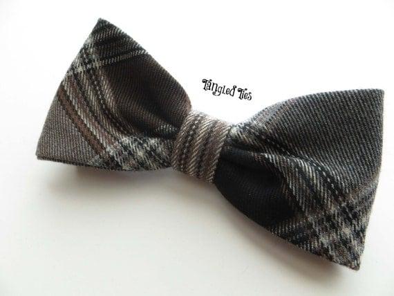 Plaid Dog Bow Tie