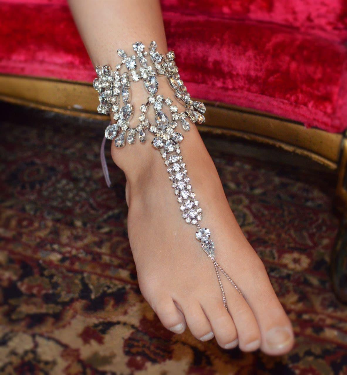 Bridal Shoes Boho: Bohemian WEDDING Bridal Foot Jewelry Rhinestone BAREFOOT