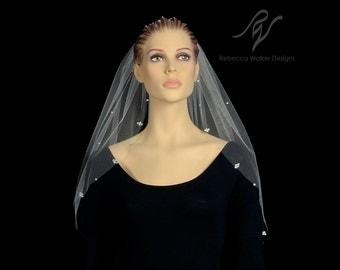 Bridal Wedding Veil with Rhinestone Cluster Edge, Made With SWAROVSKI ELEMENTS
