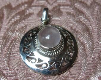 Rose Quartz Sterling Silver Pendant