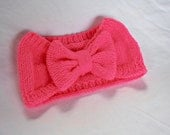 Knit bow headband- discontinued color: Neon pink