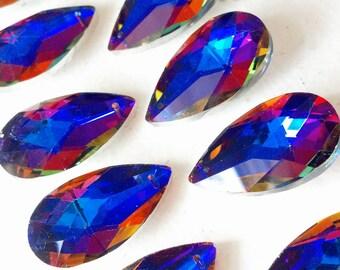5 Metallic Purple Rainbow Teardrop Chandelier Crystal 38mm Blue Silver Backed