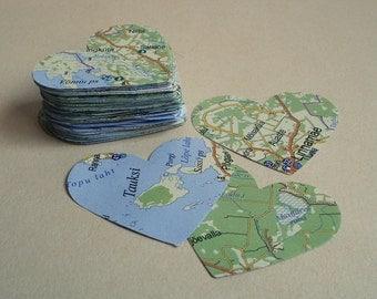 100 Die Cut Scrapbooking paper hearts Vintage Map