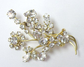 Vintage Brilliant White Rhinestone Floral Brooch Pin