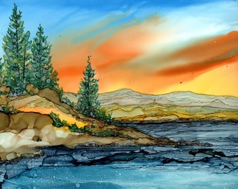Alcohol Ink Print - 5x7 or 8x10  Mountain Lake Landscape-