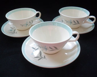 Vintage Cunningham and Picket Flat Cups and Saucers