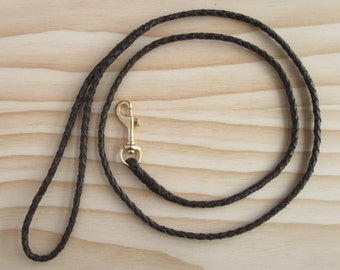 Kangaroo Leather Dog Lead Braided in Dark Chocolate with Brass Clip for Small Dogs - Lead On Whiskey