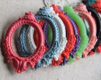24 pcs of resin cameo pendant setting for 32x42mm cameo-0277-mixture color