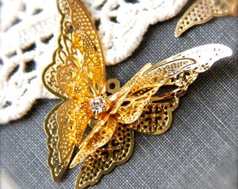 2 pcs of brass 3 layer butterfly filigree charm pendant-41x38x8mm-1569-18k gold