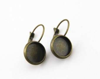12 pcs of Round setting for cameo earing hook-M3003-Antique bronze-8mm