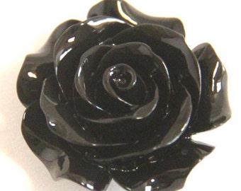 6 pcs of resin rose w/hole 28mm diameter-RC0283-33-black-shinny