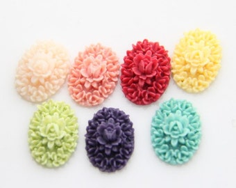 20 pcs of resin floral cameo 13X18mm-RC0226-Mixture color