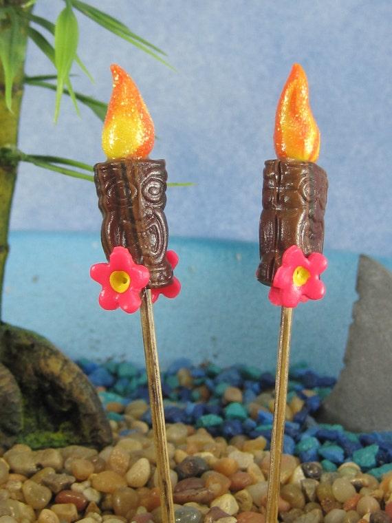 Tiki Torch Pair For Tropical Fairy Garden Or Cake Topper OOAK