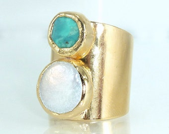 Turquoise Pearl Statement Ring, Pearl,Gemstones Ring, Cocktail Turquoise Ring,  Ancient Style Jewelry, 24K Gold Adjustable Wide Band Ring.