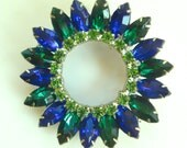 Vintage D & E Blue Green Navette Circle Brooch