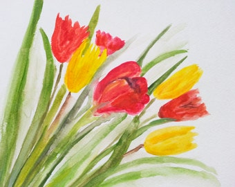 Tulips art, ORIGINAL watercolour painting, tulips,floral painting, tulips flowers, 12 x 9 inch