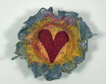 Recycled Thread and Lint Fiber Bowl with Red Heart