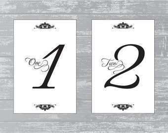 """INSTANT DOWNLOAD - Traditional Design Wedding Reception Table Numbers 1-10 DIY Print-Ready 6x4"""""""