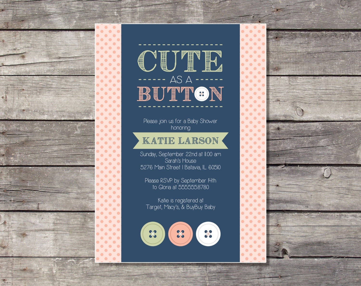cute as a button baby shower invitation printable by pricklypress