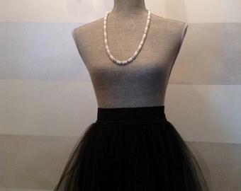 Vintage Necklace White Lucite Beads Barrel Clasp