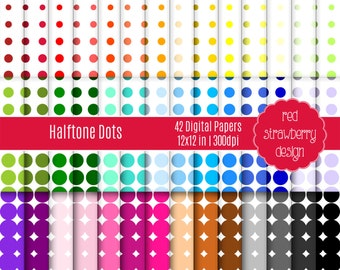 75% OFF Sale - 42 Digital Papers - Halftone Dots - Instant Download - JPG 12x12 (DP177)
