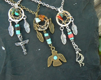 CHOOSE ONE tribal dreamcatcher necklace  in tribal native american  inspired  gypsy hippie tribal fusion boho hipster style
