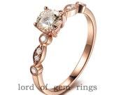 Art Deco VS 5mm Moissanite VS Accent Diamonds 14K Rose Gold Engagement Ring Wedding Ring