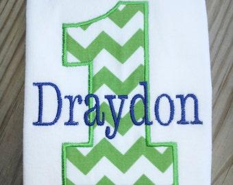 Personalized Green Chevron Boys First Birthday Shirt / Boys Birthday Shirt
