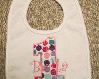 Personalized Birthday Bib, 1st birthday, girl, boy.  Polka Dot 1st birthday bib.
