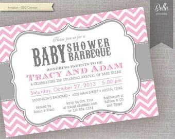 Chevron Pink BBQ Baby Shower invitation - DIY Printable - Backyard BBQ