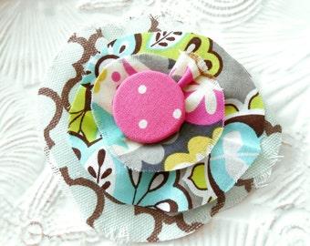 Flower Brooch, Fabric Pin, Scrap Fabric Brooch, Retro Button Fabric Pendant, Ruffle Flower Pin, Flower Embellishment