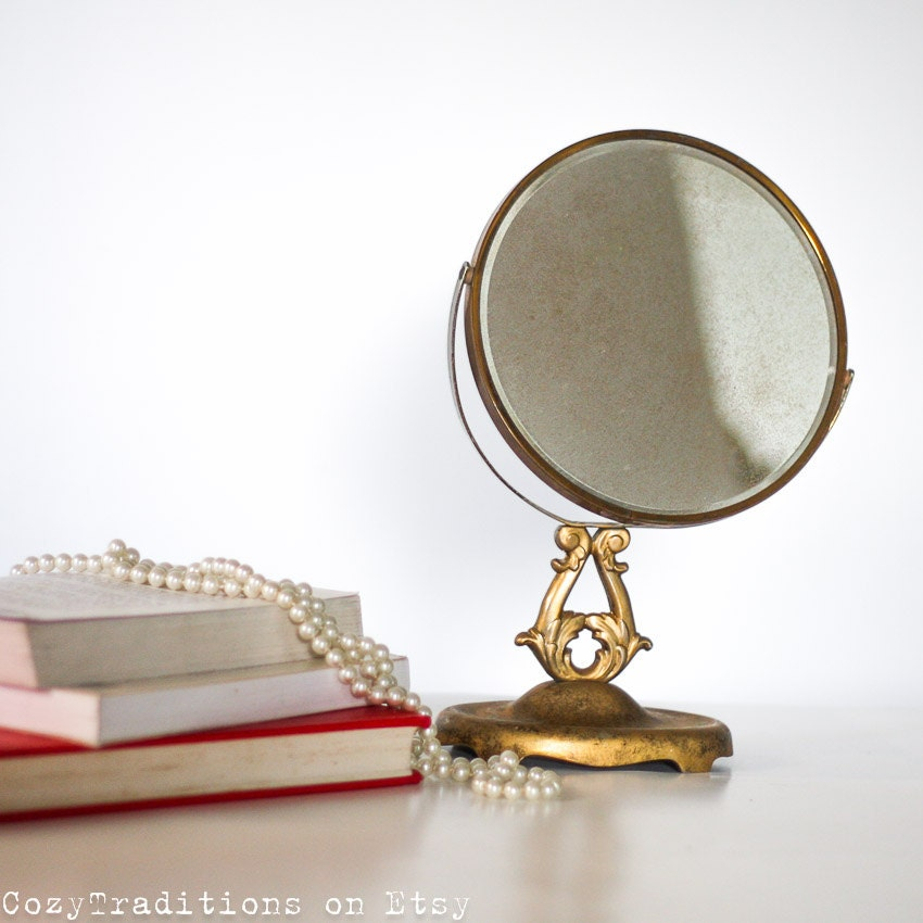 makeup mirror on stand magnifying table mirror vintage brass. Black Bedroom Furniture Sets. Home Design Ideas