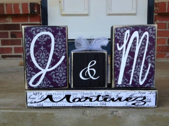 Personalized family initials last name wedding anniversary primitive wood block set home decor wedding birthday anniversary gift