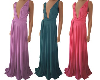 Pink bridesmaid dress Prom convertible infinity maxi dress XS-5XL